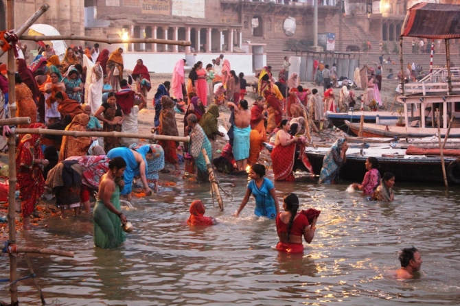 Celebrating Incredible Women of India. Women at Assi Ghat, Varanasi, Kashi.